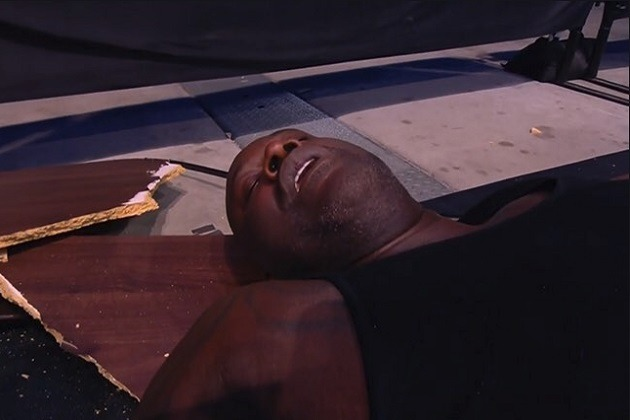Watch Shaquille O'Neal Get Put Through Tables On All Elite Wrestling's 'Dynamite' [VIDEO]